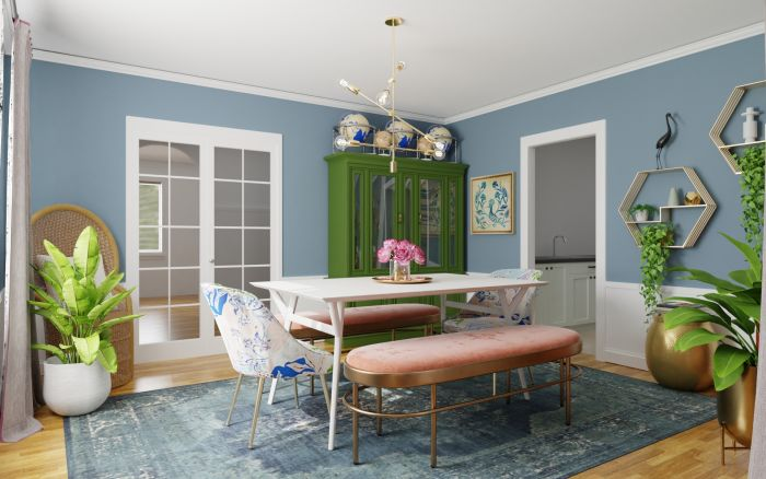 Mixing Vintage Pieces: Eclectic Glam Dining room Design View 4 By Spacejoy
