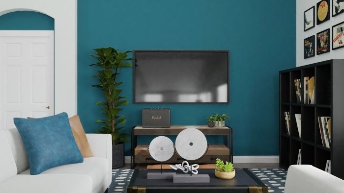 Statement Teal:  Urban Modern Living Room Design View 2 By Spacejoy