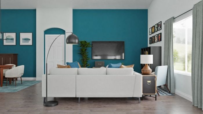Statement Teal:  Urban Modern Living Room Design View 4 By Spacejoy