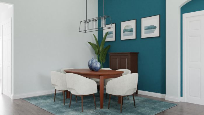 Statement Teal:  Urban Modern Living Room Design View 5 By Spacejoy
