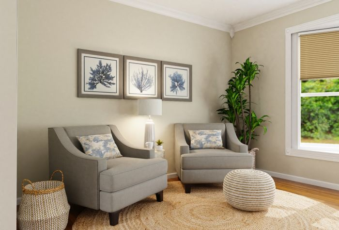 Private Reading Nook: Coastal Transitional Living Room Design View 2 By Spacejoy