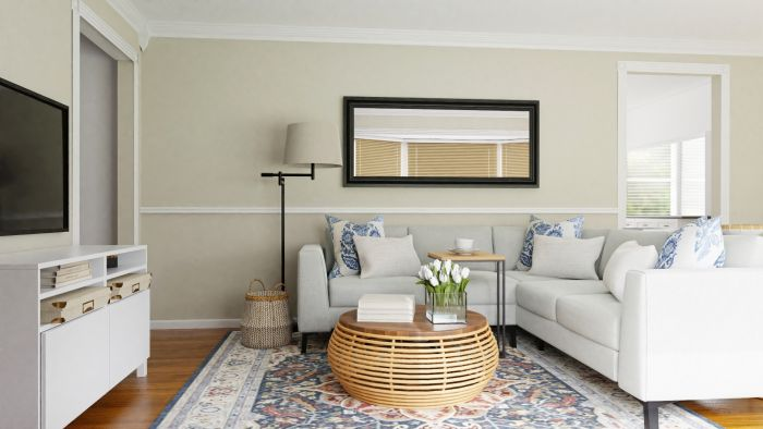 Private Reading Nook: Coastal Transitional Living Room Design View 3 By Spacejoy