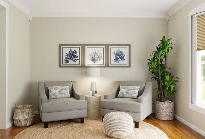 Private Reading Nook: Coastal Transitional Living Room Design View 4 By Spacejoy