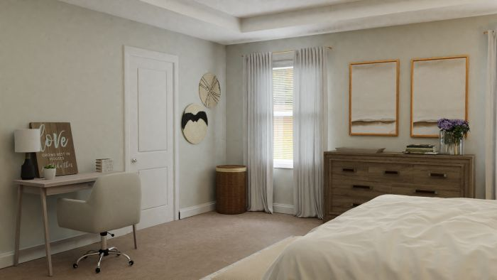 Natural Wood Textures: Mid-Century Rustic Bedroom Design View 2 By Spacejoy