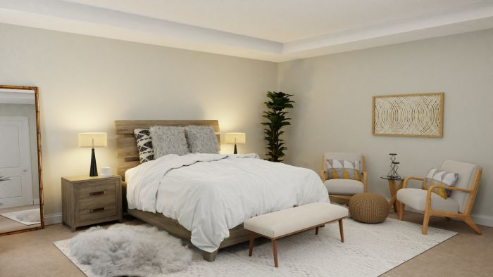 Natural Wood Textures: Mid-Century Rustic Bedroom Design View 3 By Spacejoy
