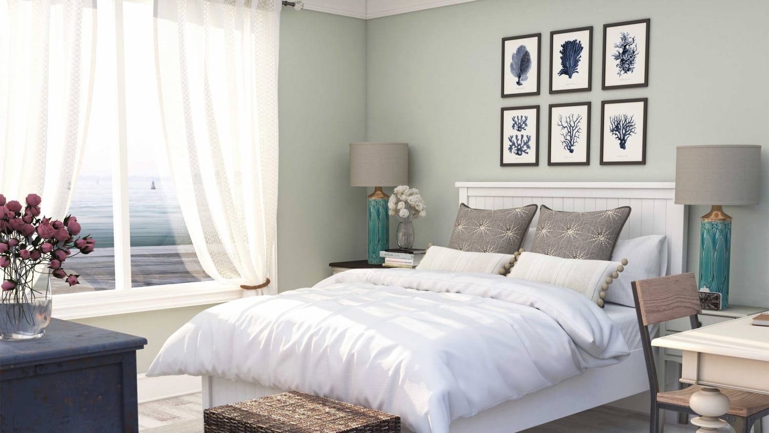 Coastal Farmhouse Guest Bedroom Design By Spacejoy