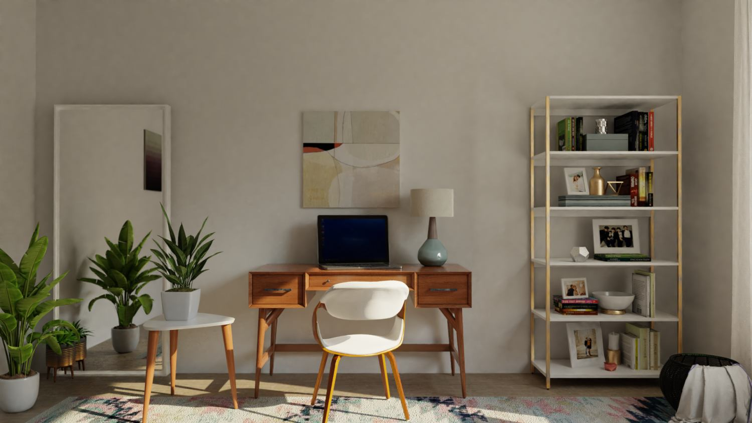 Functional, Productive Mid-Century Modern Home Office Design By Spacejoy