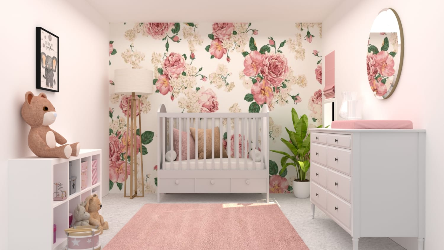 Blush Floral Nursery Design By Spacejoy