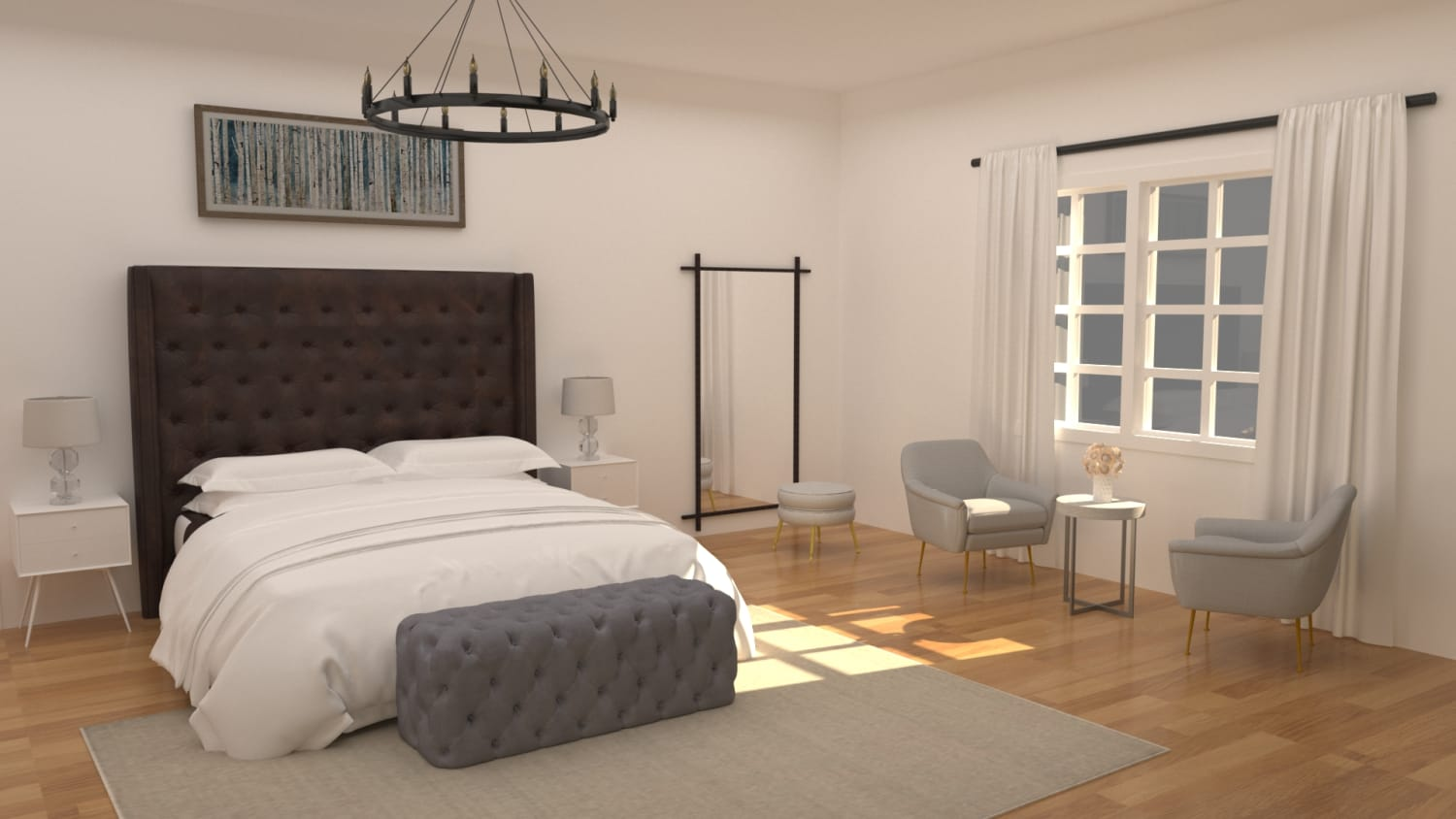 Focal Point Headboard: Modern Transitional Bedroom Design By Spacejoy