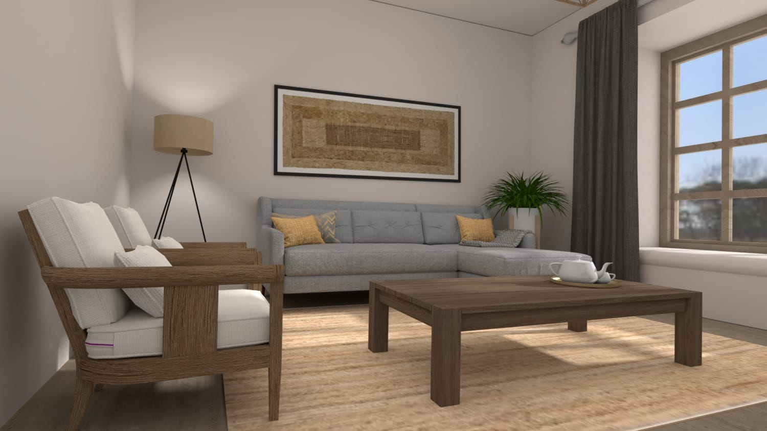 An all Natural Modern Farmhouse Living Room Design By Spacejoy