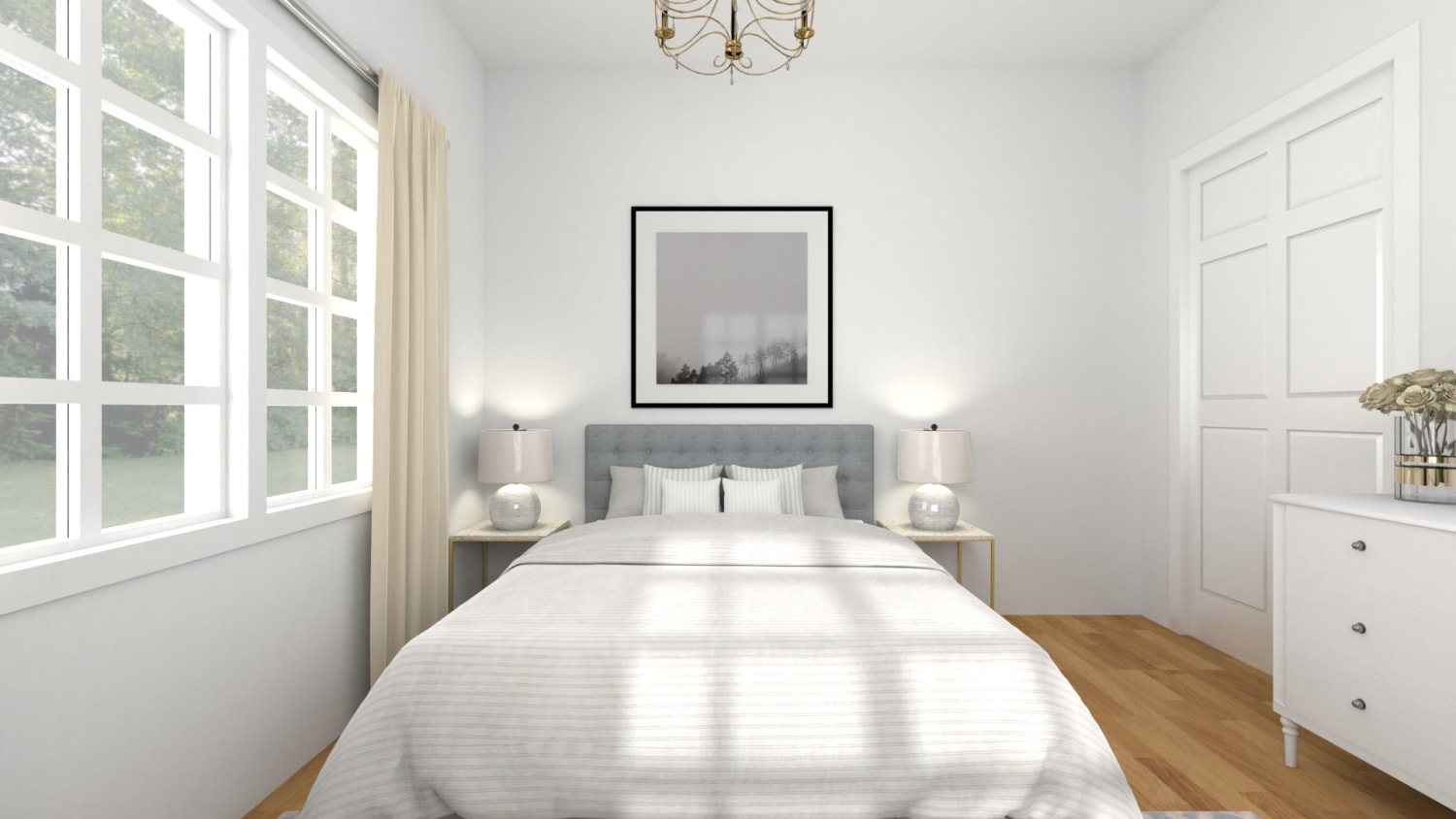 All White: Modern Chic Bedroom Design By Spacejoy