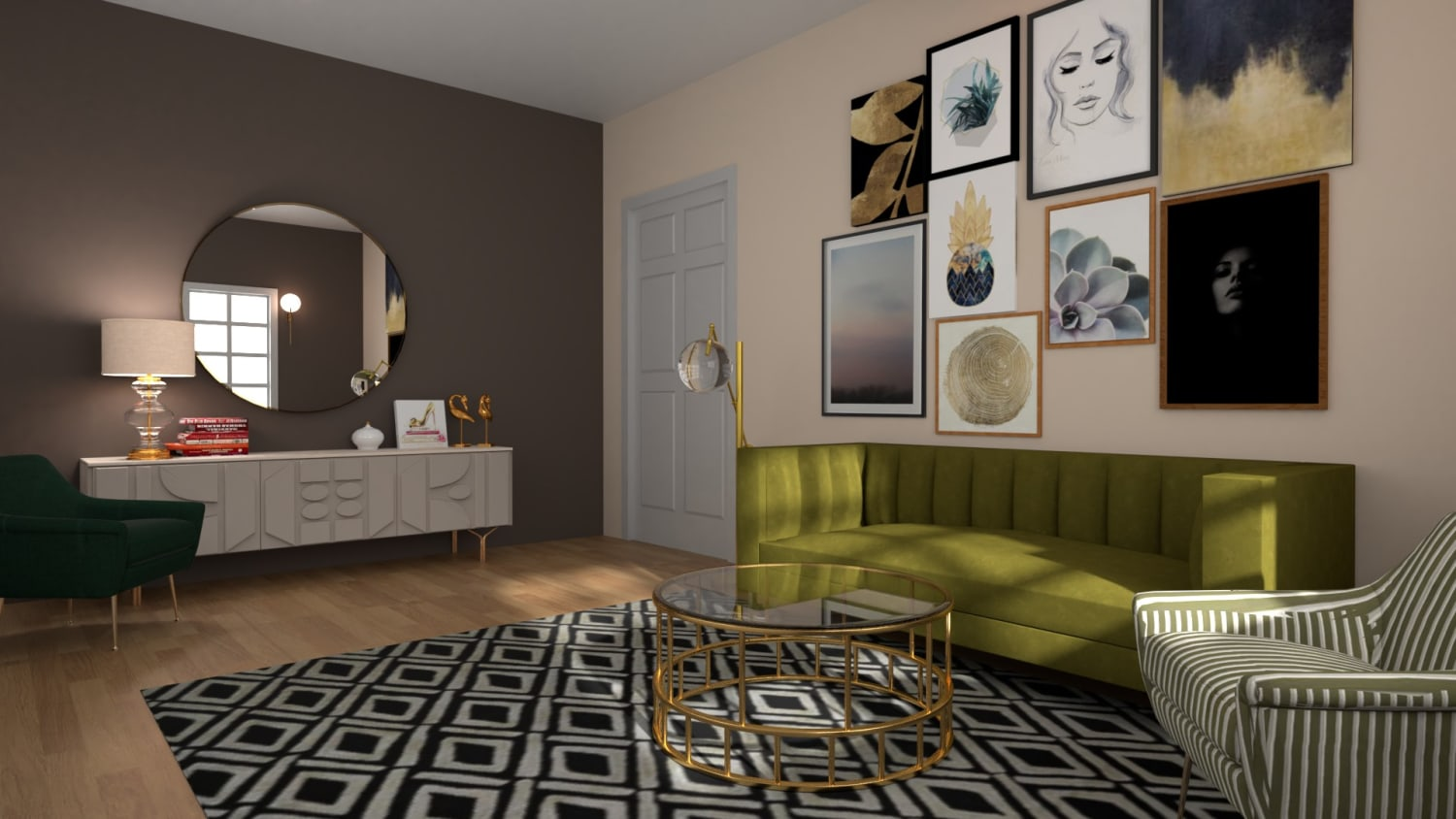 Artwork  Placement: Eclectic Glam Living Room Design By Spacejoy