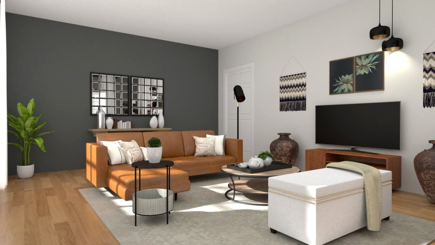 An Urban Mid-Century Living Room with Warm Accents Design By Spacejoy