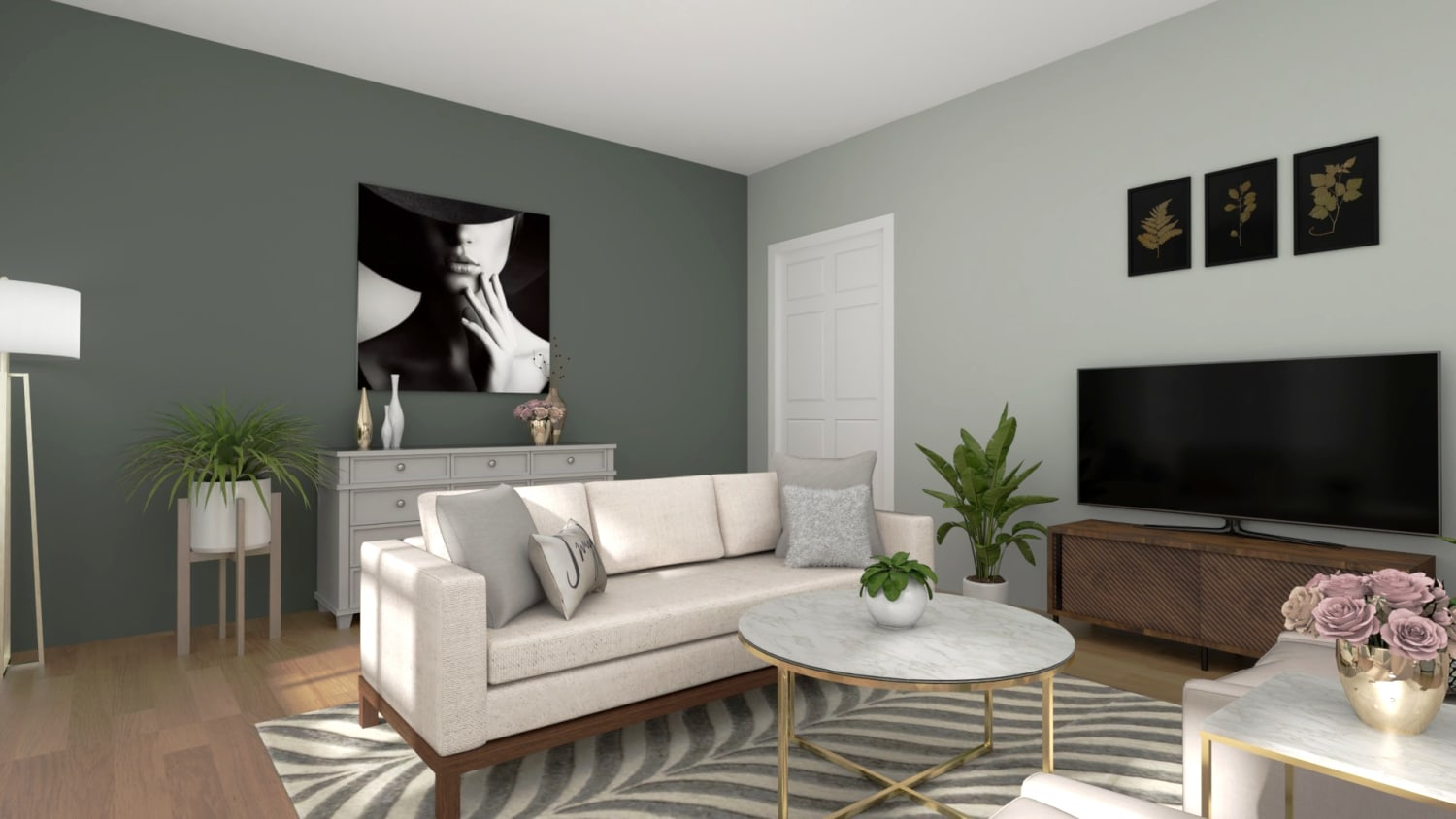 An Elegant and Glam Living Room Designed in a Neutral Palette Design By Spacejoy