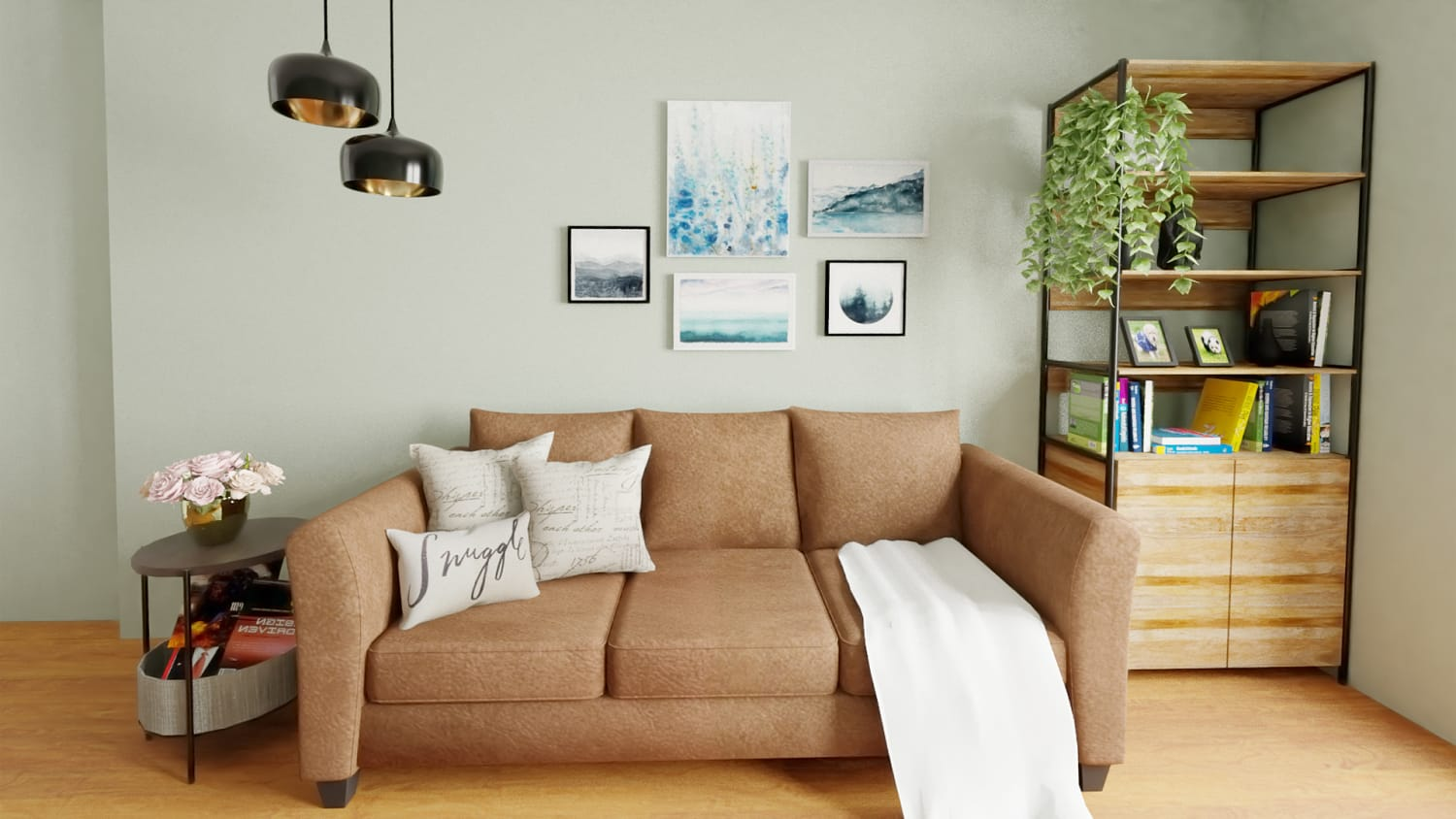 Mastering the Art of Decorating Small Spaces: Urban Farmhouse Living Room Design By Spacejoy