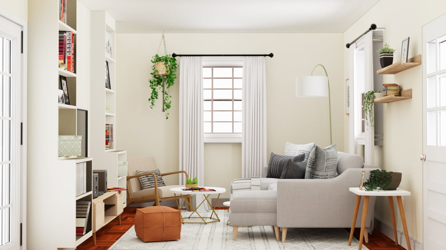 Playing with Neutrals: Mid- Century Urban Living Room Design By Spacejoy