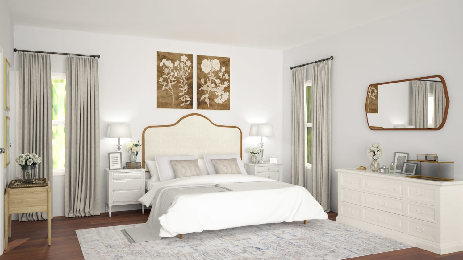 Airy Color Palette: French Country Bedroom Design By Spacejoy