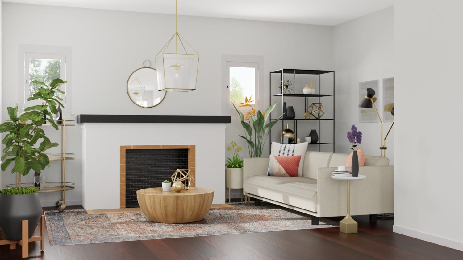 Combining Brass + Black Metals: Modern Glam Living Room Design By Spacejoy