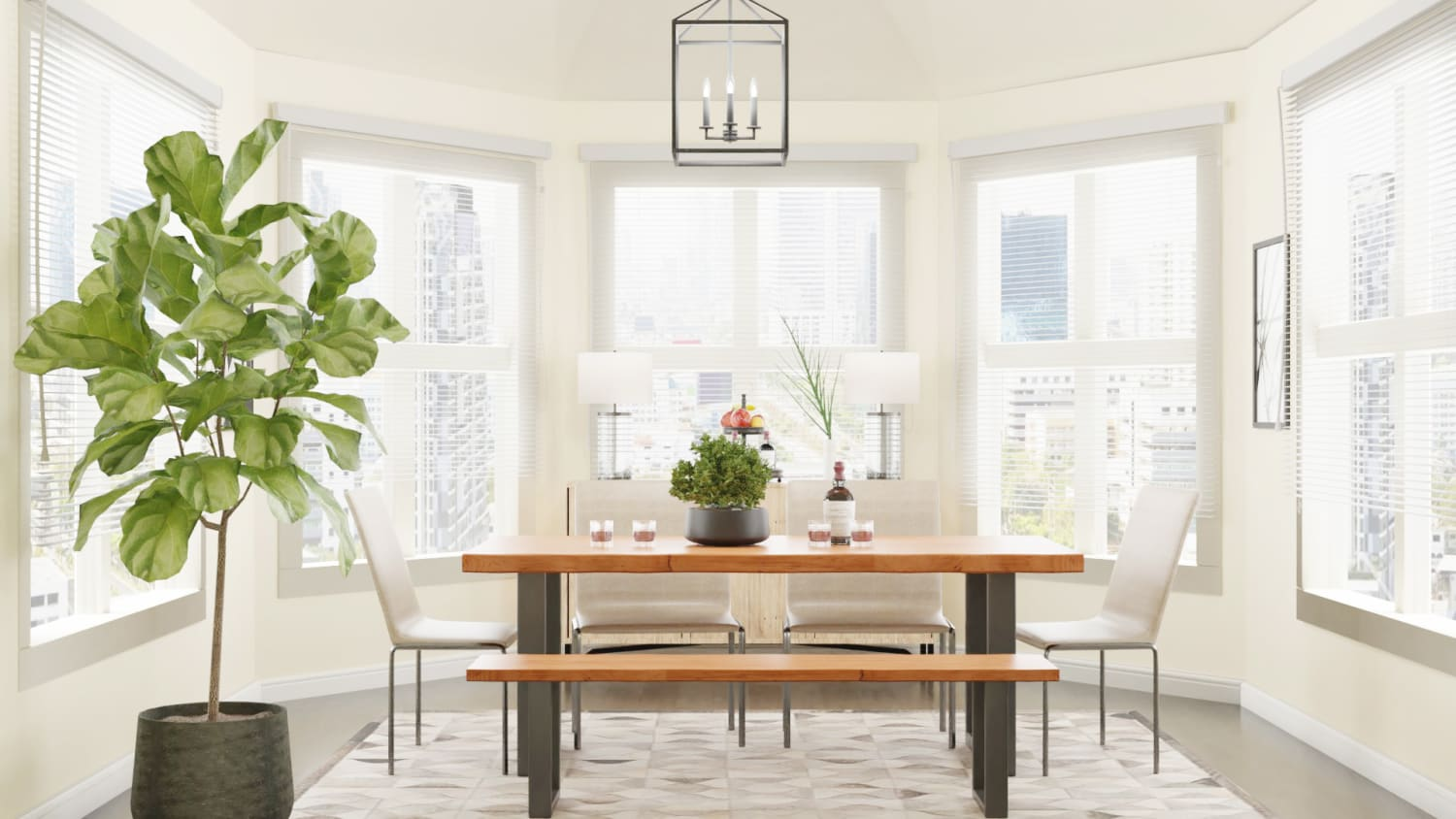 Airy Tones: Urban Farmhouse Dining Room Design By Spacejoy
