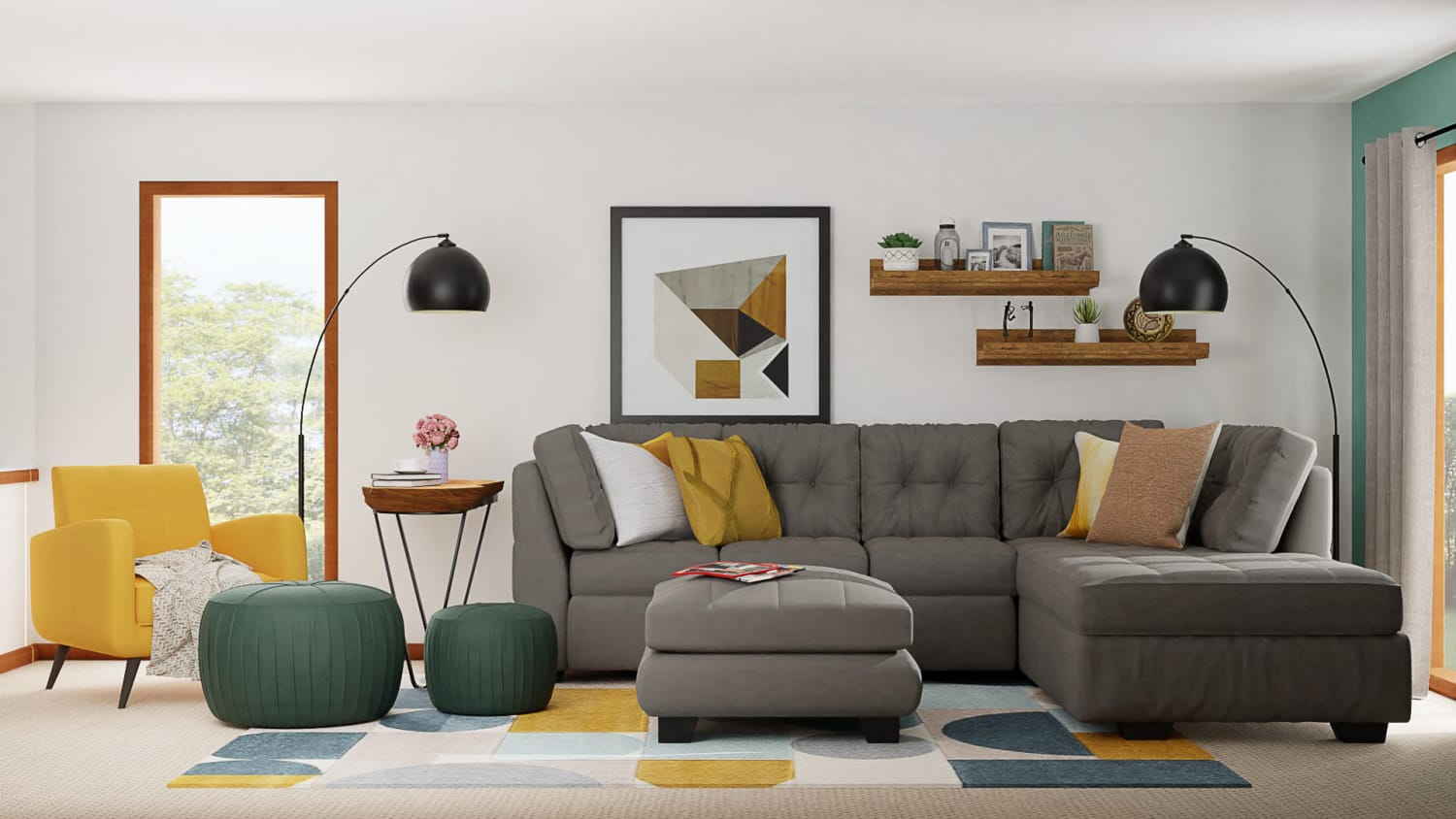 Mid-Century Living Room with Retro Vibes Design By Spacejoy