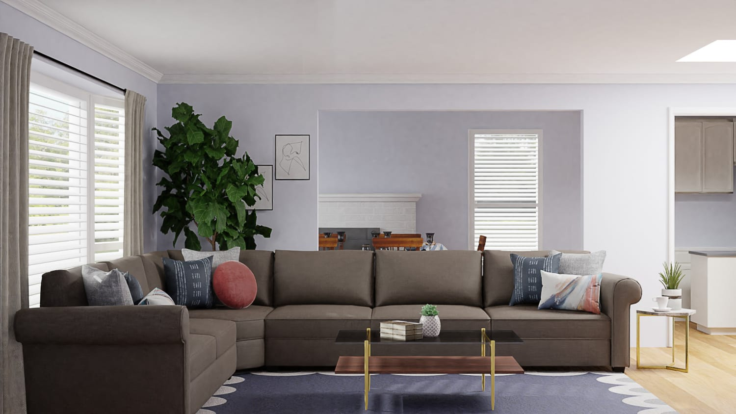 Modern Glam Living Room with Pink & Blue Accents Design By Spacejoy