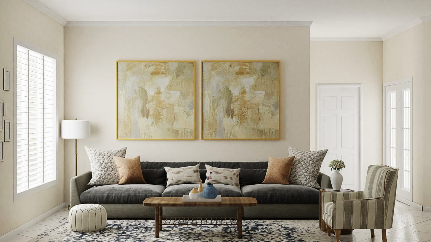 Modern Traditional Living Room with Statement Art  Design By Spacejoy