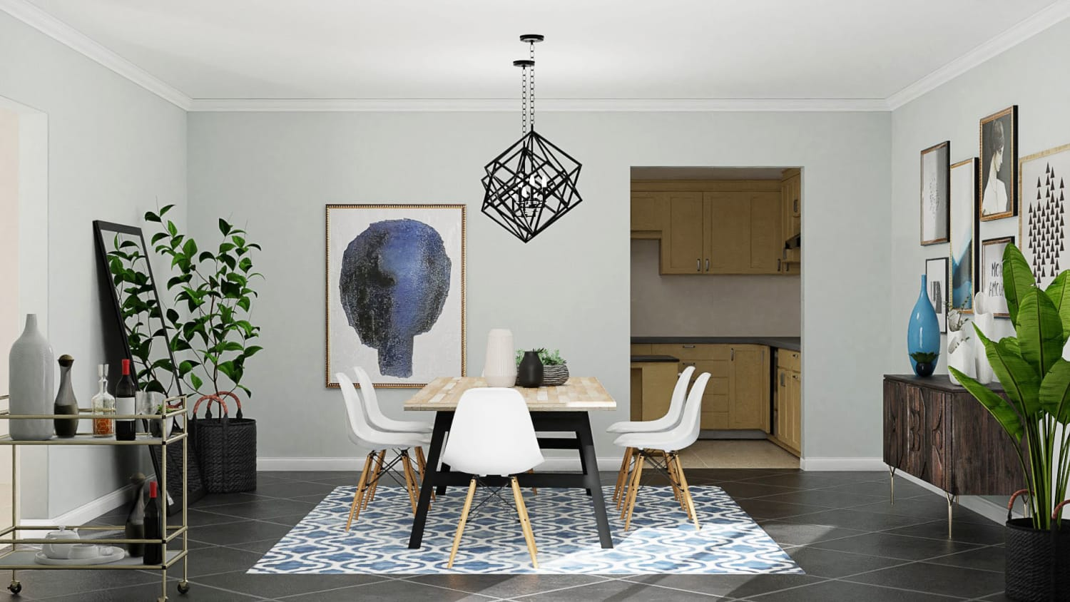 Urban Eclectic Dining Room in Geometric Motif  Design By Spacejoy