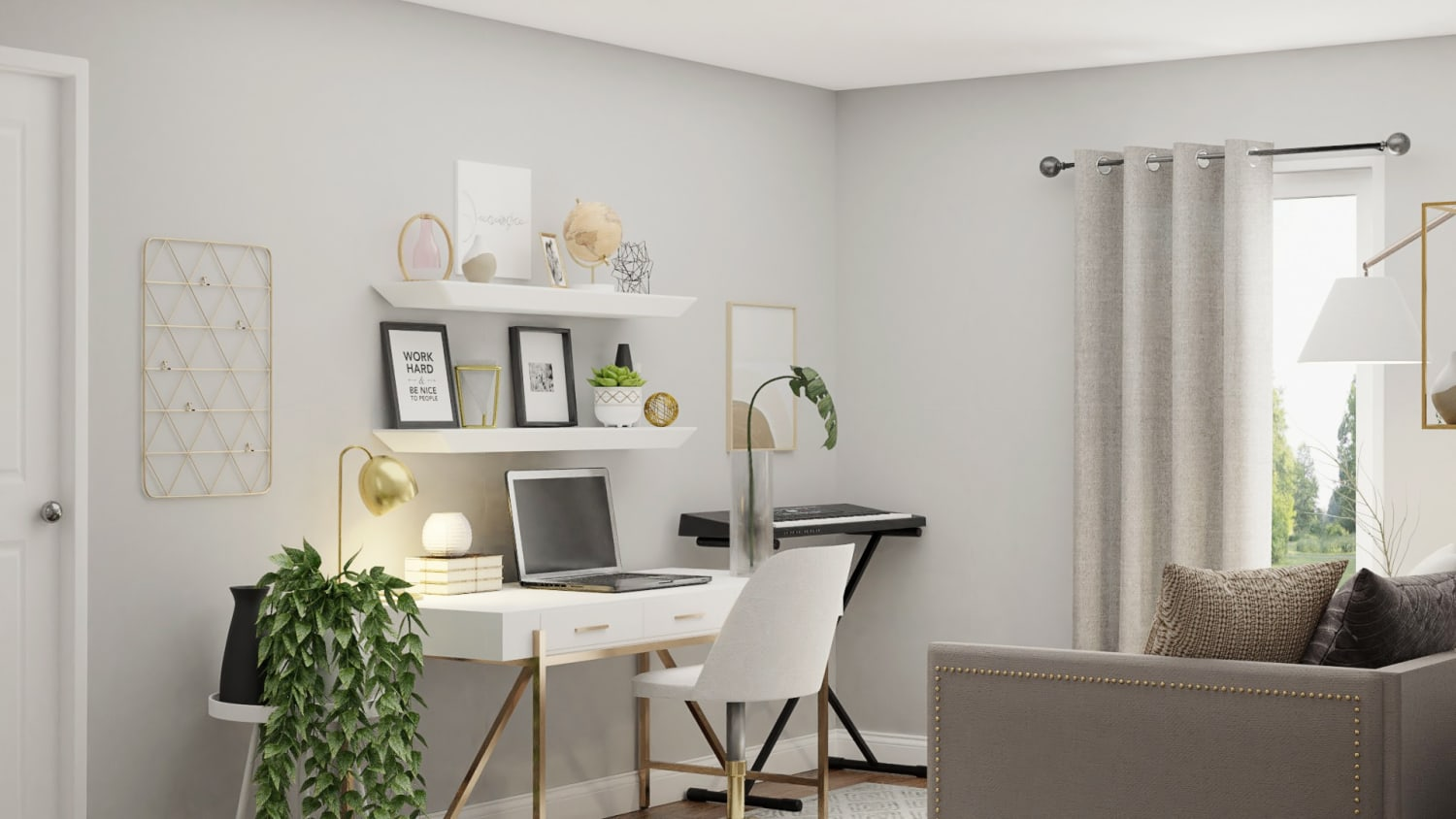 Image of: Get Inspiration From White Black Modern Minimalist Home Office Design By Spacejoy