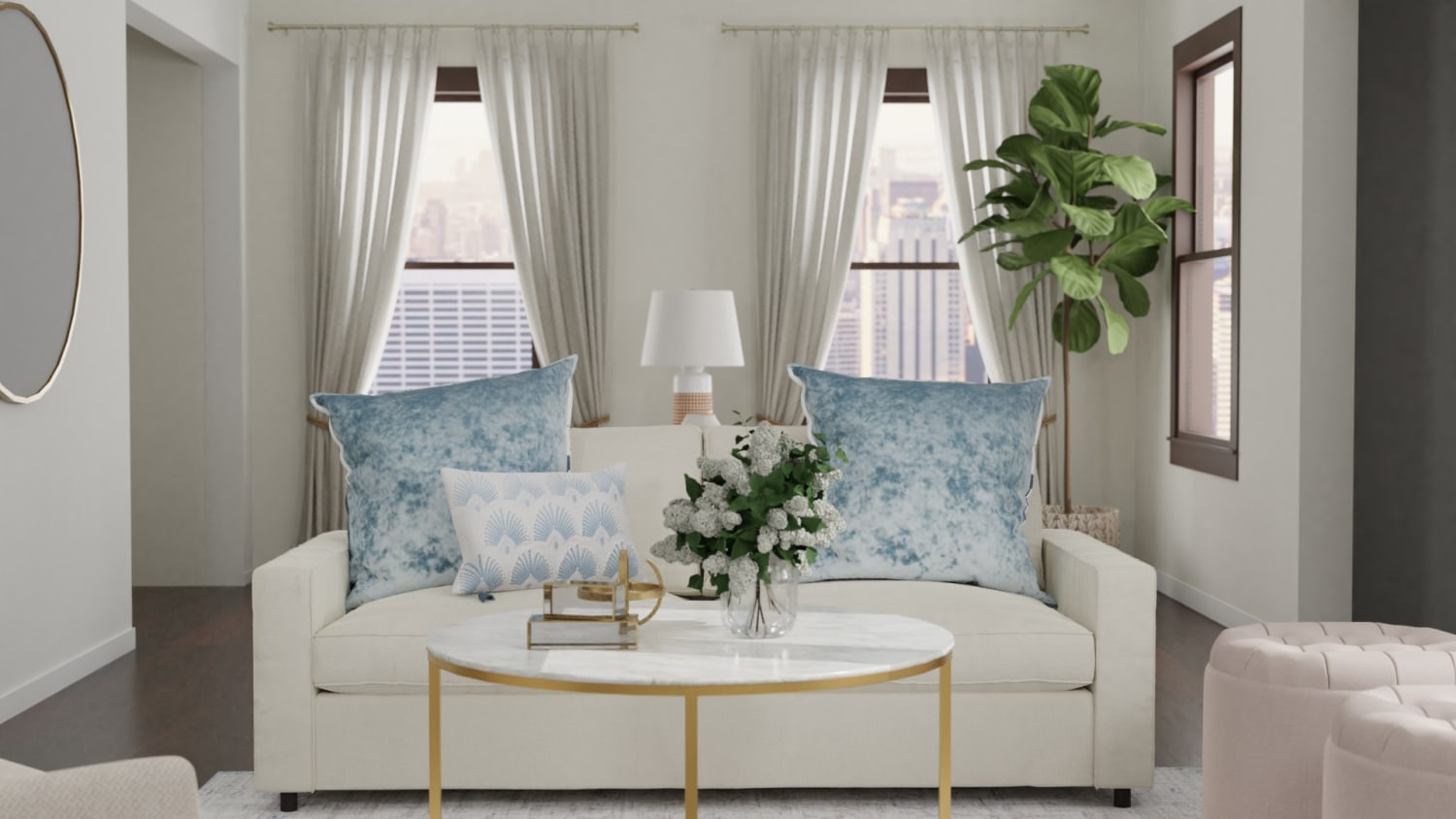Sleeper Sofa + Lighter Fabrics: Transitional Coastal Living Room Design By Spacejoy