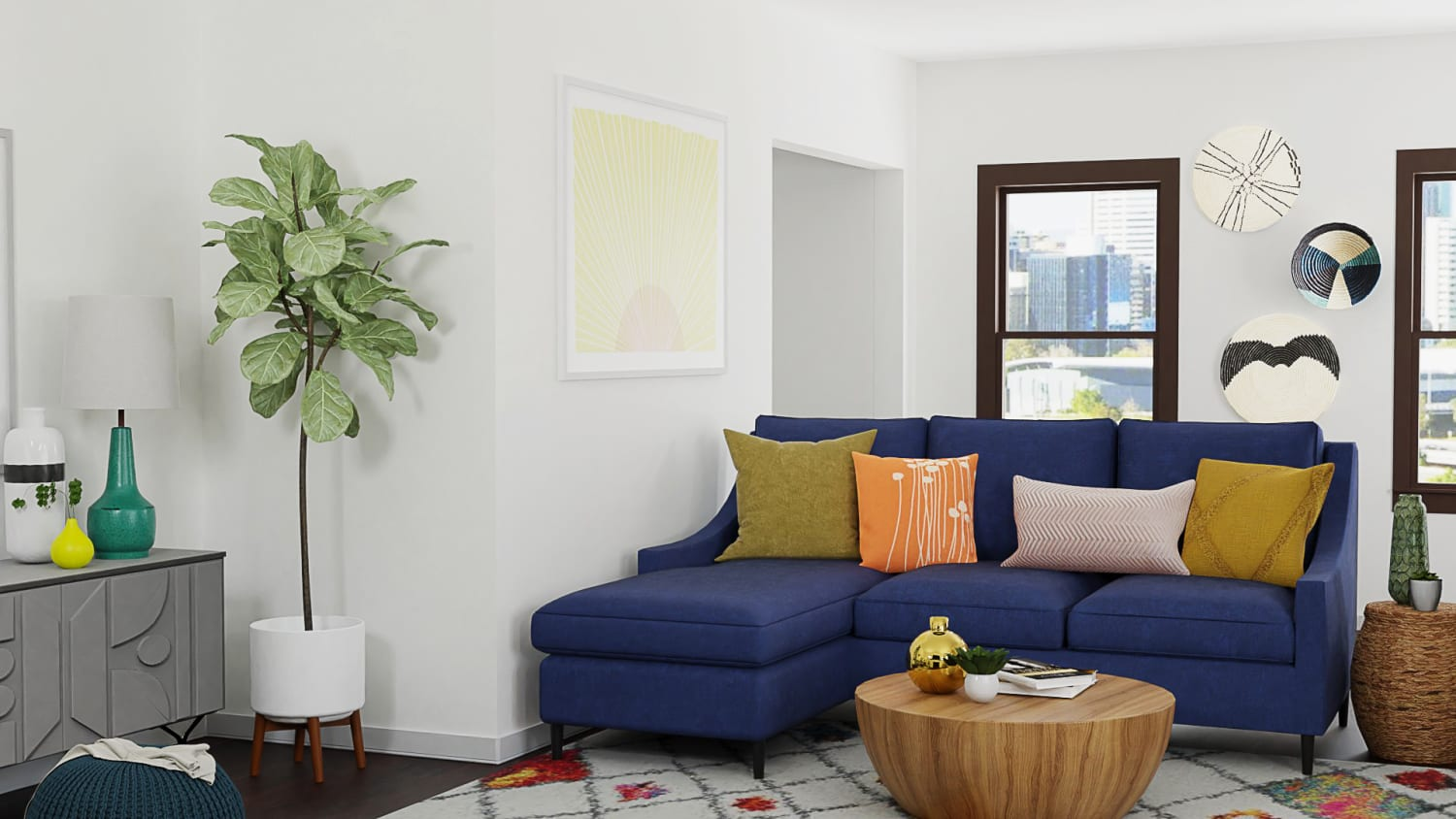 Bright Energizing Color:  Mid-Century Retro Living Room Design By Spacejoy