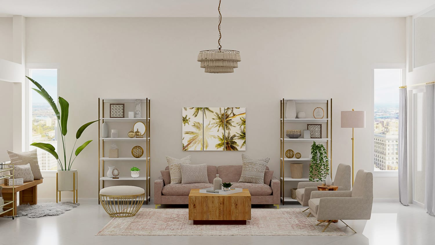 Light and Airy Pastel Accents:  Mid-Century Glam Living Room Design By Spacejoy