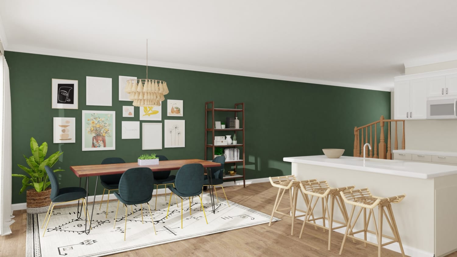 Emerald Statement Wall: Eclectic Glam Dining Room Design By Spacejoy