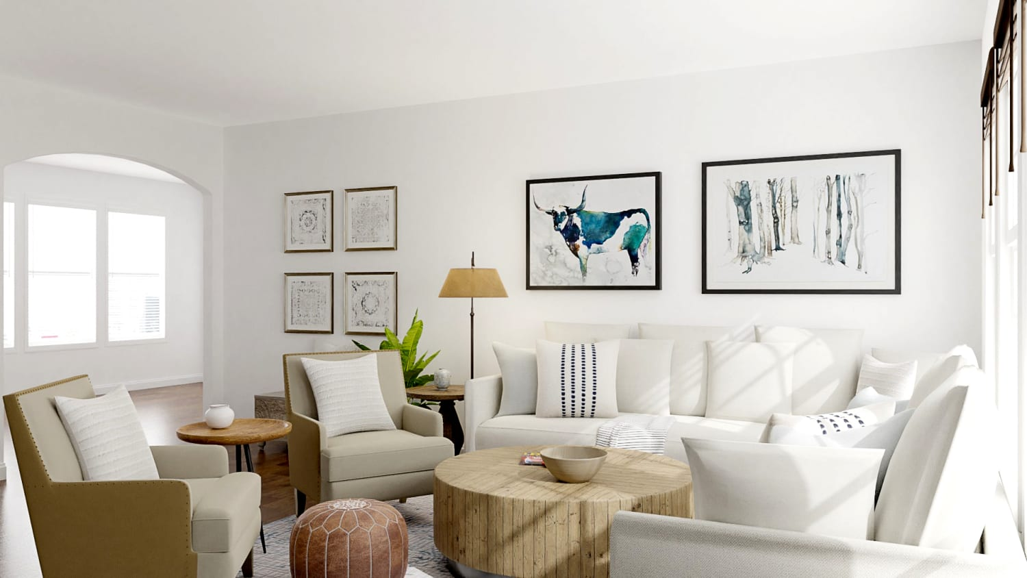 Neutral Palette + Blue Accents: Modern Farmhouse Living Room Design By Spacejoy