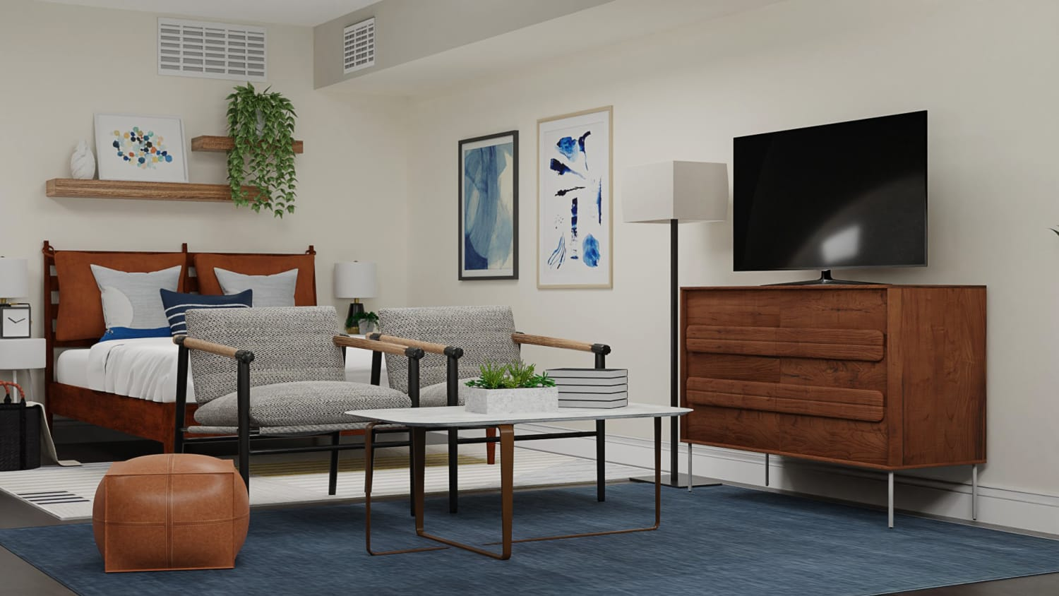 Image of: Get Inspiration From Navy Blue Masculine Mid Century Retro Studio Design By Spacejoy
