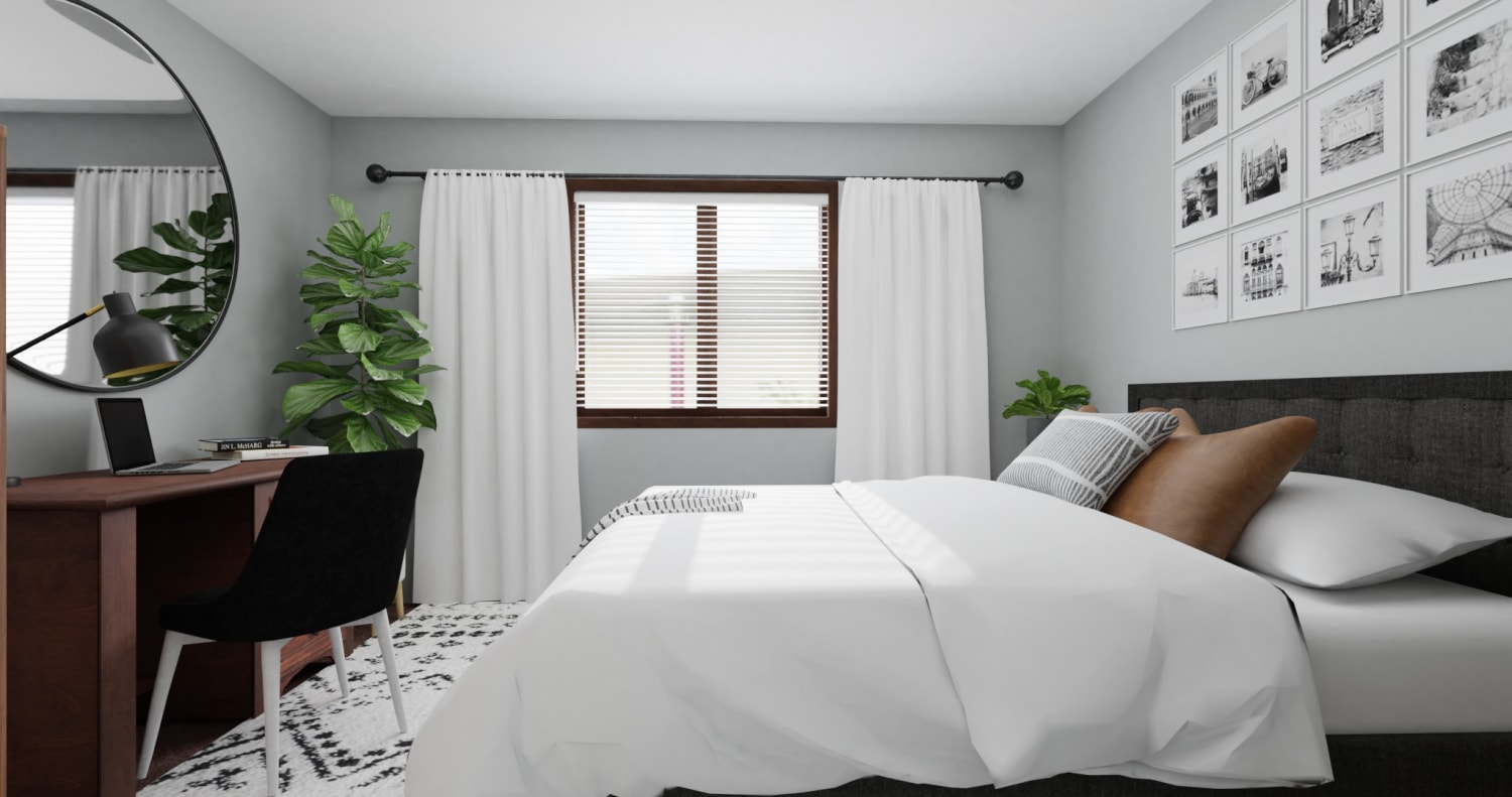 Dorm Room Idea:  Urban Minimalist Bedroom Design By Spacejoy