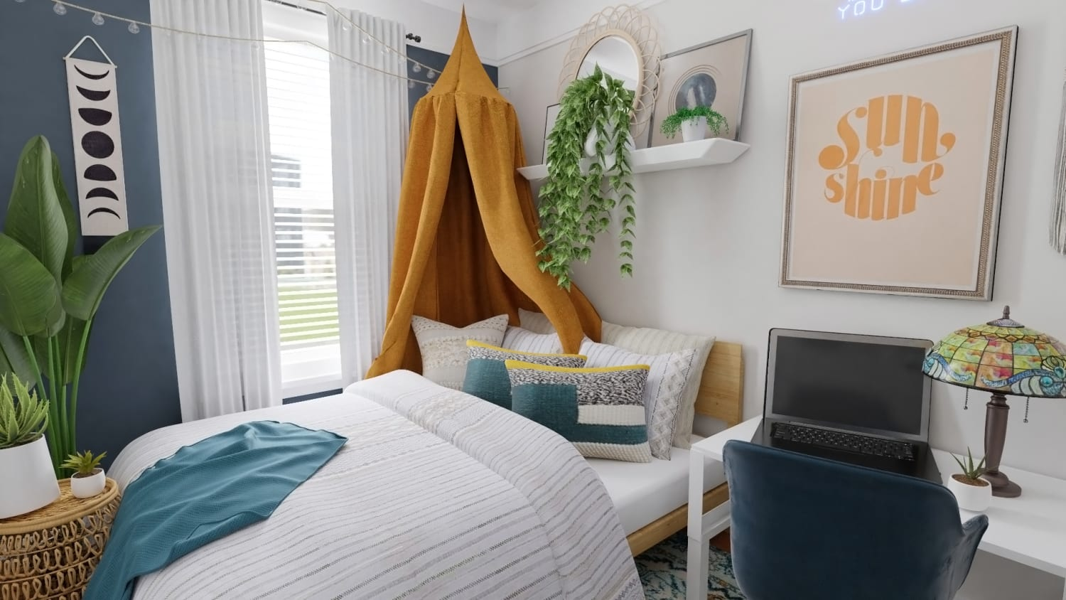 Small Space Ideas: Modern Eclectic Bedroom Design By Spacejoy