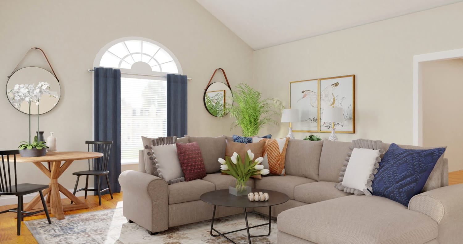 Open Floor Plan: Modern Farmhouse Living Room Design By Spacejoy