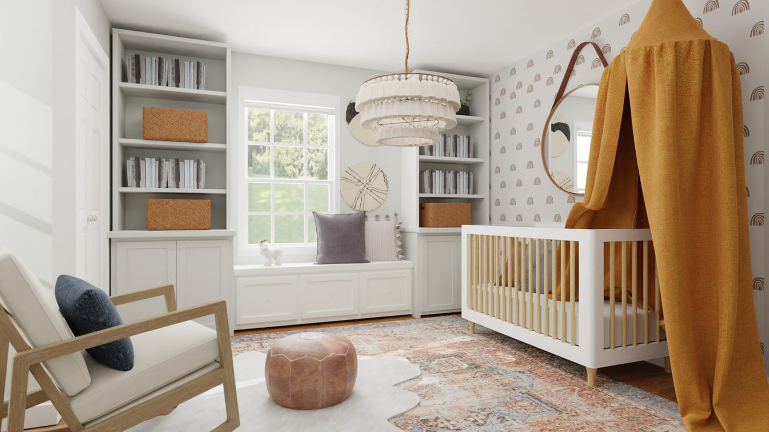 Accent Wallpaper: Mid-Century Eclectic Nursery Design By Spacejoy