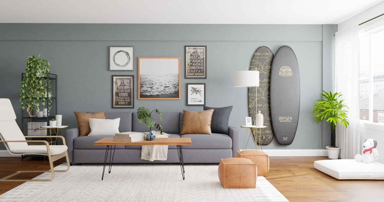 Surfing Vibes: Urban Minimalist Living Room Design By Spacejoy