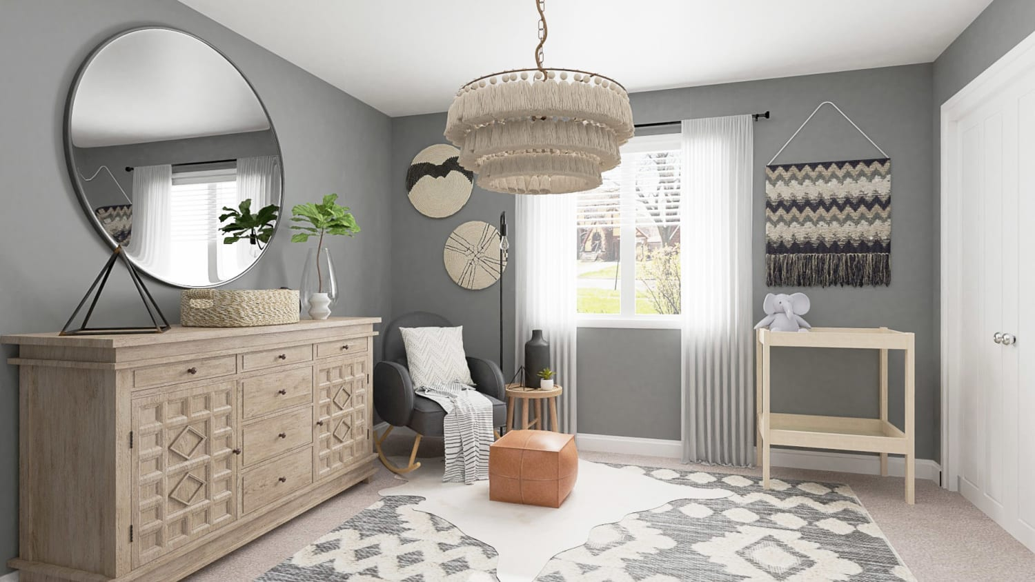 Calming Gray Tones:  Rustic Boho Nursery Design By Spacejoy