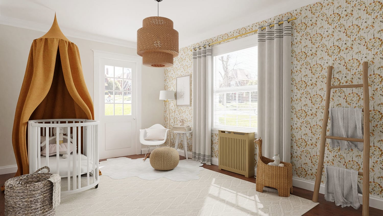 Floral Wallpaper:  Scandinavian Nursery Design By Spacejoy