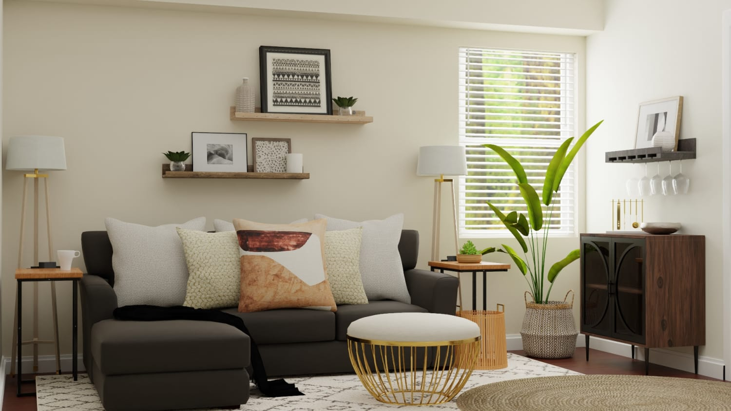 Small Spaces:  Mid Century Glam Living Room Design By Spacejoy
