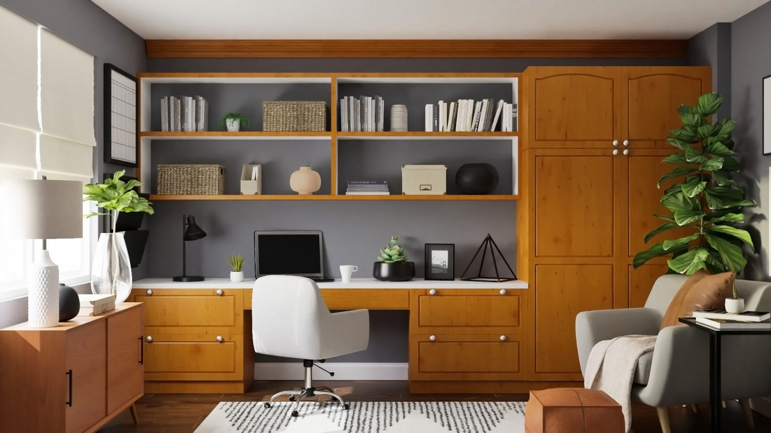 Home Office with Built-in Library