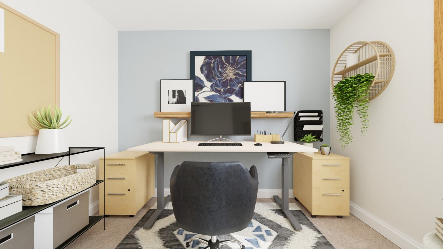 Statement Art: Boho Eclectic Home Office Design By Spacejoy