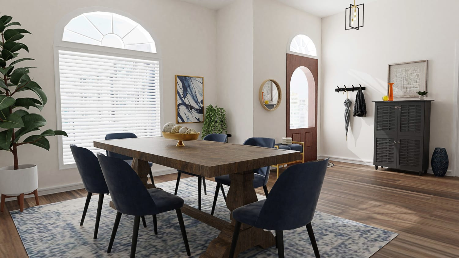 Large Seating Space: Modern Traditional Dining Room Design By Spacejoy