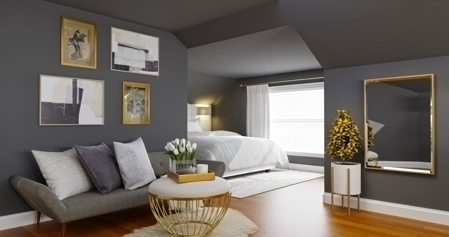 Gray and Gold: Elegant Glam Bedroom Design By Spacejoy