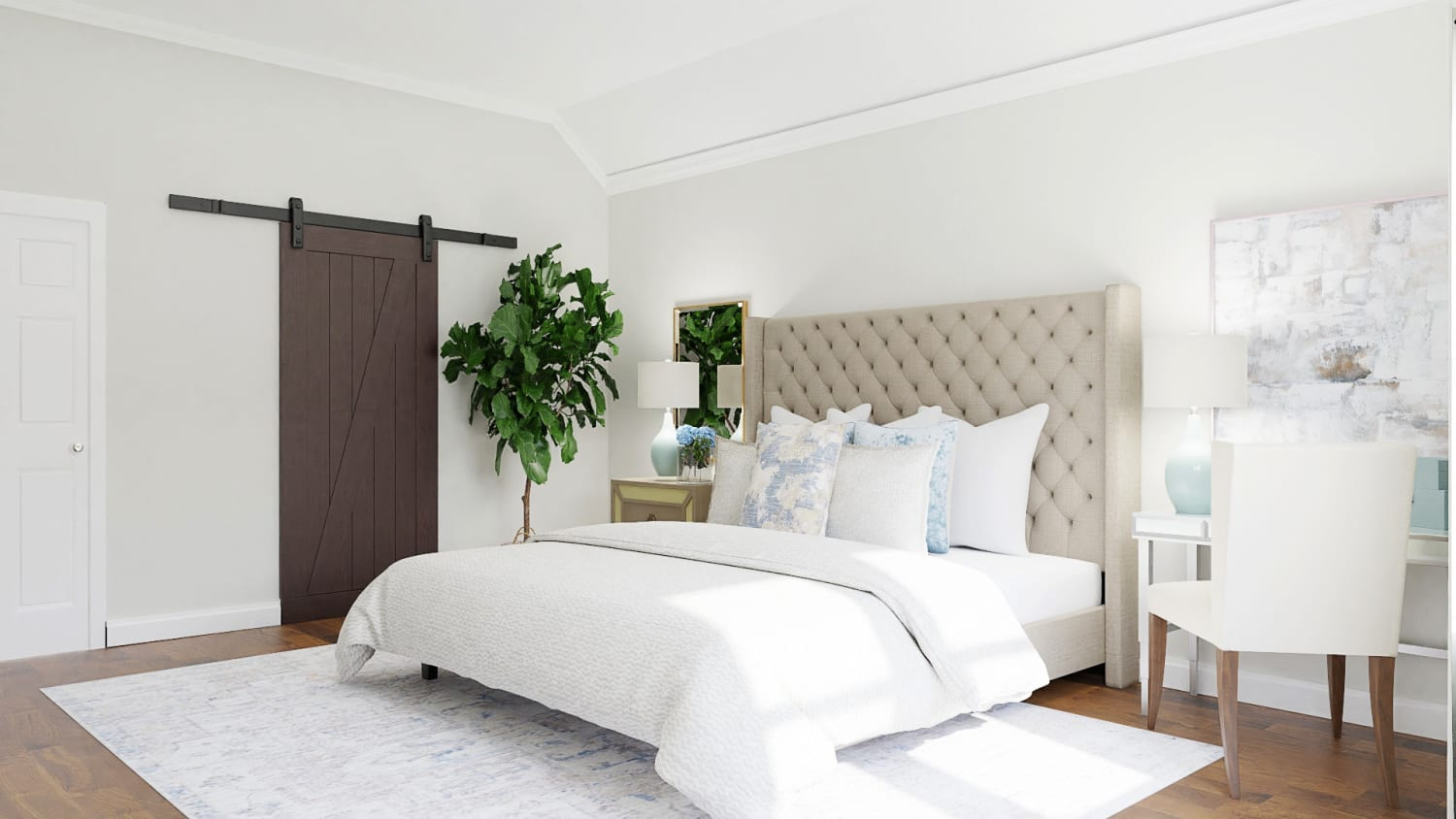 Statement Headboard: Classic Traditional Bedroom Design By Spacejoy