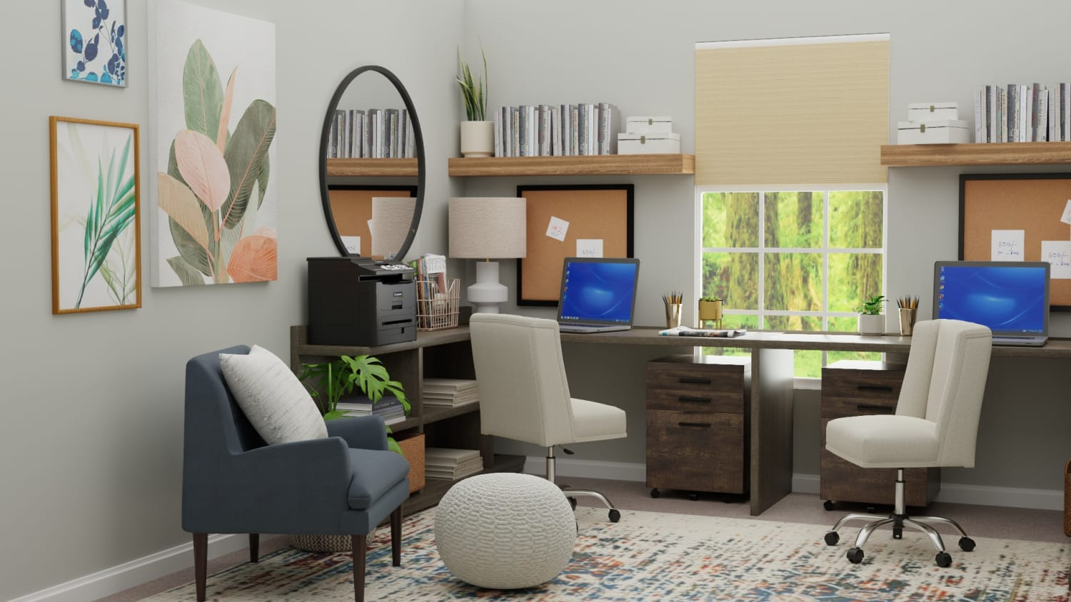 Multi Person Work Space: Urban Eclectic Home Office Design By Spacejoy
