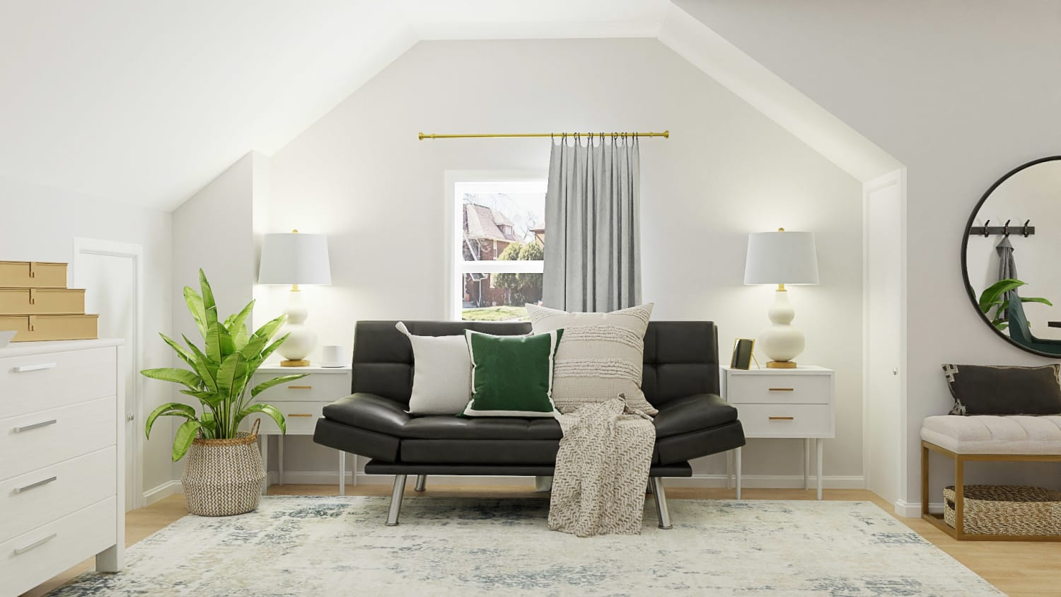 Guest Attic + Podcast Room:  Glam Transitional Guest Room Design By Spacejoy