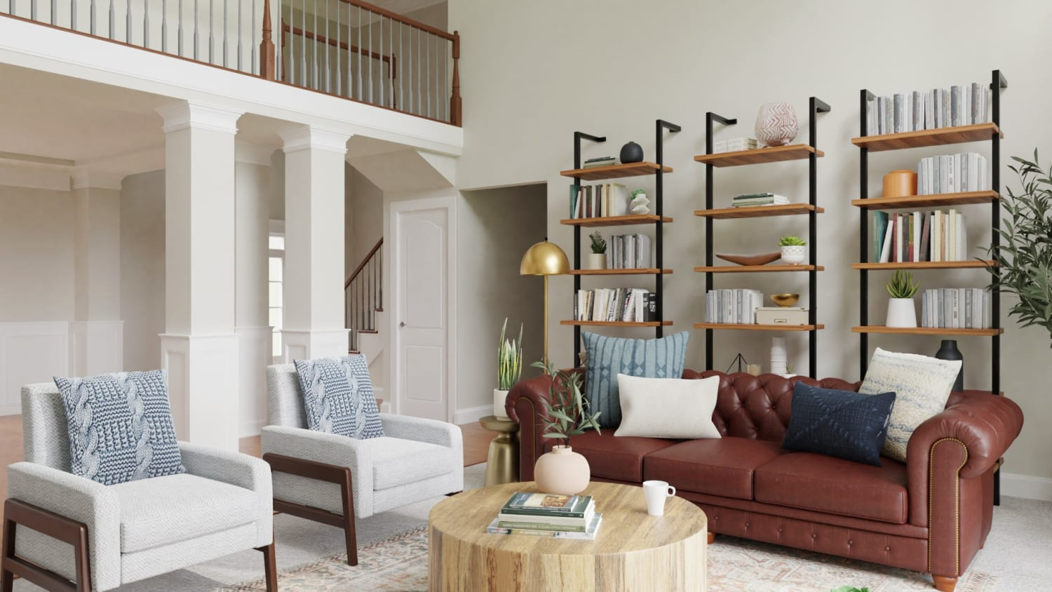 Statement Bookshelves:  Rustic Transitional Living Room Design By Spacejoy